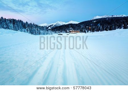 Ski Slope Near Madonna Di Campiglio Ski Resort In The Morning, Italian Alps, Italy