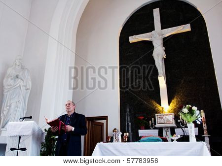 Catholic Priest During Easter Mass
