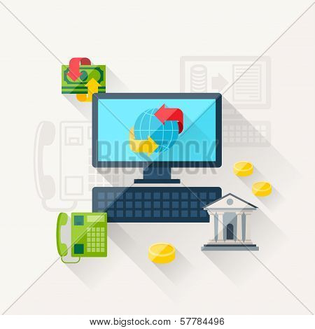Illustration concept of banking online in flat design style.