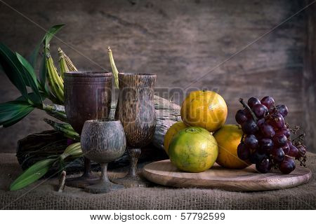 Oranges And Grapes Still Life