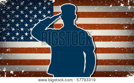 Us Army Soldier On Grunge American Flag Background Vector