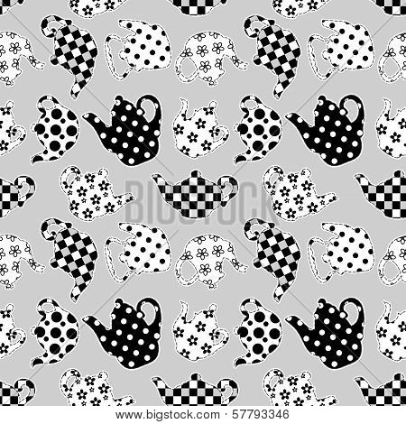 Teapots Black And White Patchwork Seamless Pattern