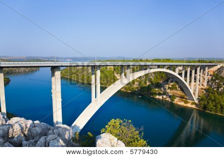 River Krka And Bridge In Croatia