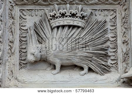 Porcupine emblemof the House of Orleans. Castle of Blois Loire valley France