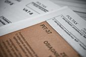 Blank income tax forms. Polish forms PIT CIT and VAT