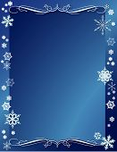 picture of scrollwork  - Falling snowflakes border this winter weather frame with scroll work in chilly blue tones - JPG
