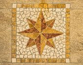 picture of wind-rose  - Wind rose made with ceramic pieces like a mosaic