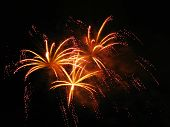 image of firework display  - Colorful fireworks over dark sky during a celebration - JPG