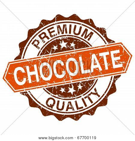 Chocolate Grungy Stamp Isolated On White Background