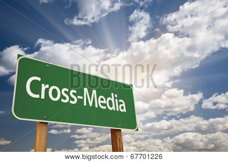 Cross-Media Green Road Sign with Dramatic Clouds and Sky.