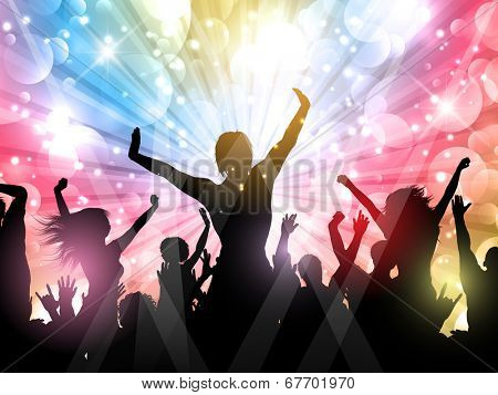 Silhouette of a party crowd on a starburst background