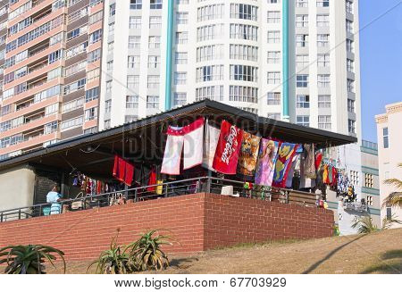 Street Vendor Stall Against Highrise Apartment Buildings