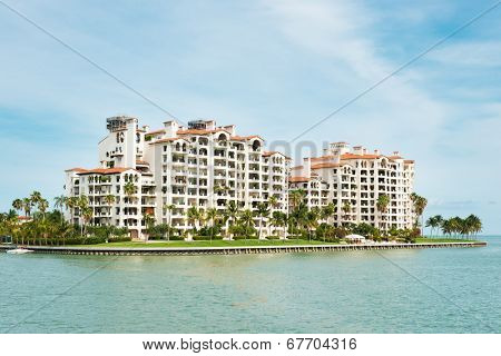 MIAMI,USA - MAY 27,2014 : Residences at Fisher Island, an exclusive community in an artificial island off shore Miami