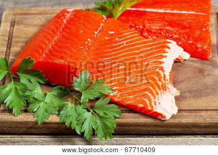 Fresh Salmon Fillets Ready To Cook