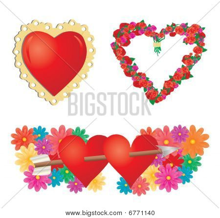 Set of valentines hearts, part 2, vector additional