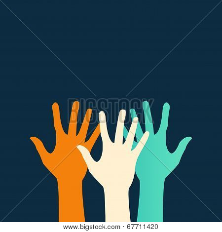 Vector flat icon hands. color abstraction eps