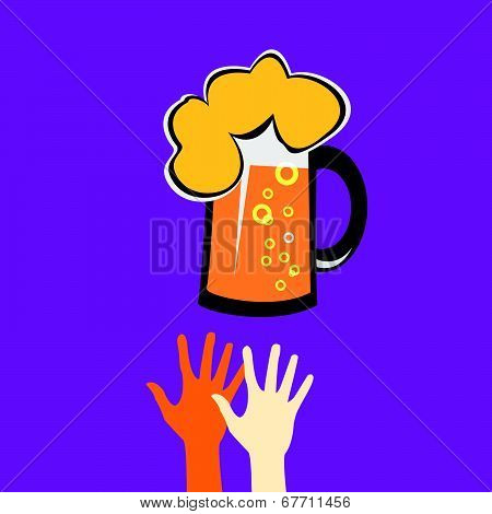 Hands reaching for a glass of beer
