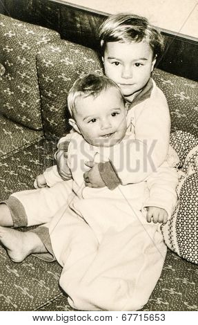GERMANY, CIRCA 1953 - vintage photo of siblings