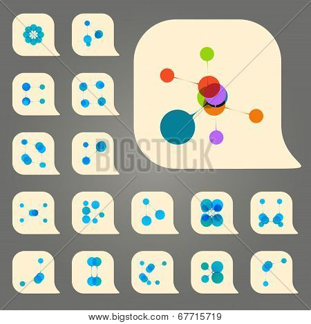 Vector set DNA and network abstract icon