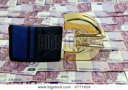 500 Euro Bills And Gold Symbol With Wallet