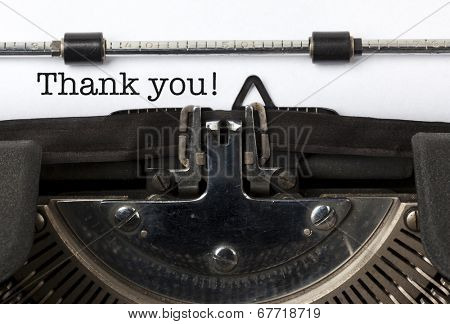 Phrase Thank You written with vintage typewriter
