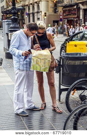 Rambla Street In Barcelona, Spain