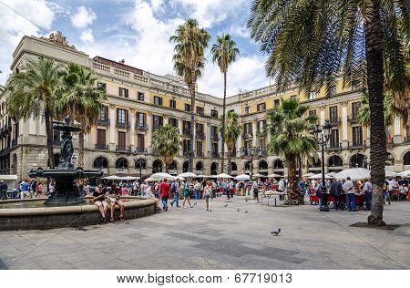 Plaza Real In Barcelona Spain, Stamp And Coin Collection