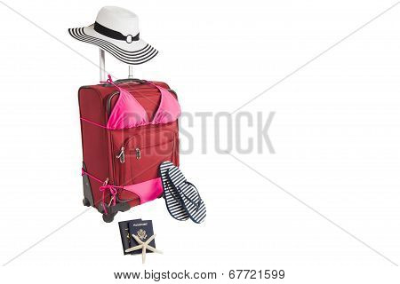 Suitcase Ready For A Beach Vacation