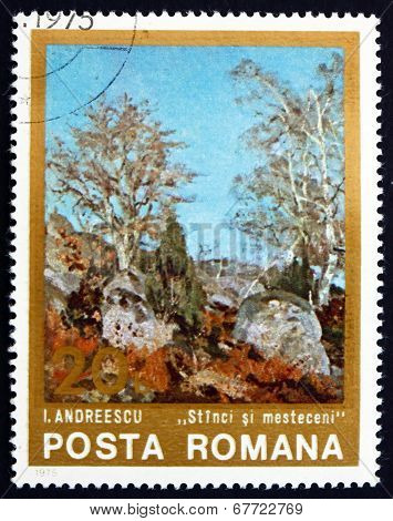 Postage Stamp Romania 1975 Rocks And Birches, By Ion Andreescu