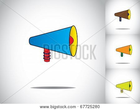 Blue Colorful 3D Megaphone Icon Symbol Collection Set. Different Unique Colored Mega Phone Concept