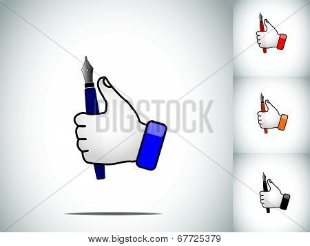 Different Colored Human Thumbs Up Hand Illustration Symbol With A Vintage Color Pen Nib