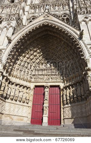 Entrance Of The Cathedral Of Amiens, Picardy, France