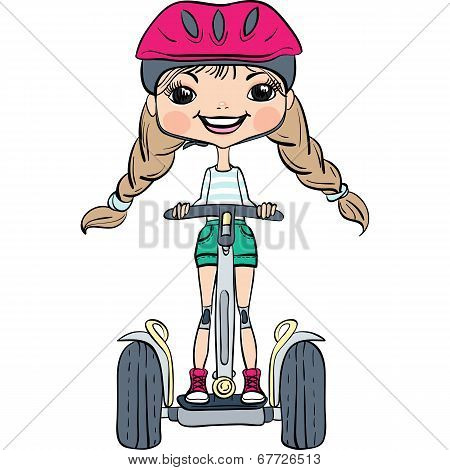 Vector Cute Baby Girl Riding A Segway