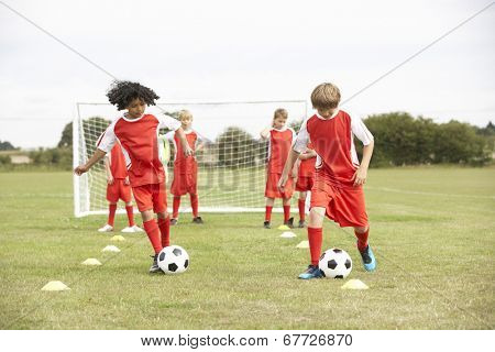Junior soccer team in training