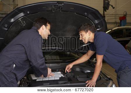 Trainee mechanic at work