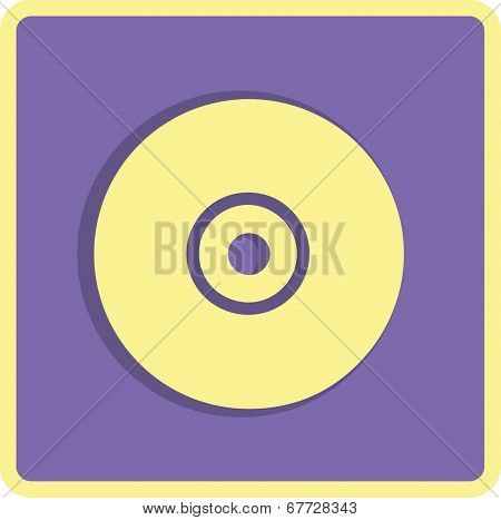 Vector CD or DVD icon, vector illustration. Flat design style