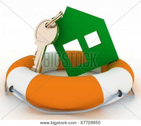 House insurance concept. 3d model ecological house symbol with key in Life Buoy on a white background
