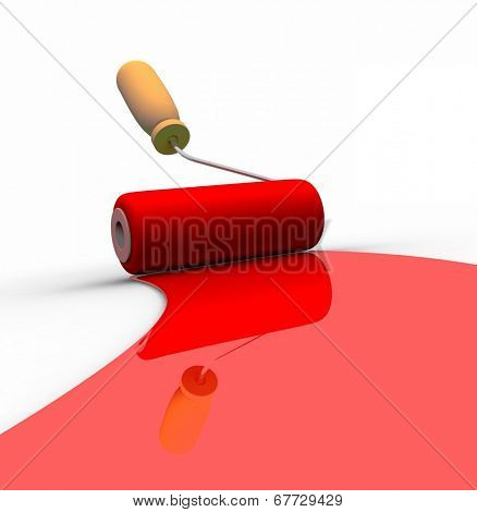 Paint roller and red paint stripe. 3d illustration