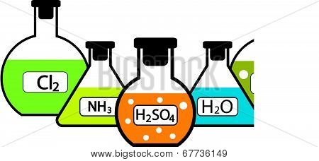 Laboratory Flasks With Chemicals