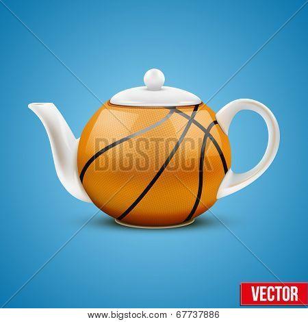 Ceramic Teapot In Basketball Ball Style. Vector Illustration.