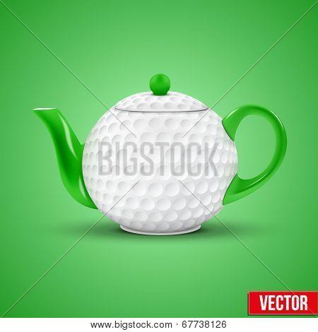 Ceramic Teapot In golf Ball Style. Vector Illustration.
