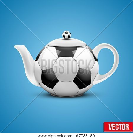 Ceramic Teapot In Soccer Ball Style. Vector Illustration.