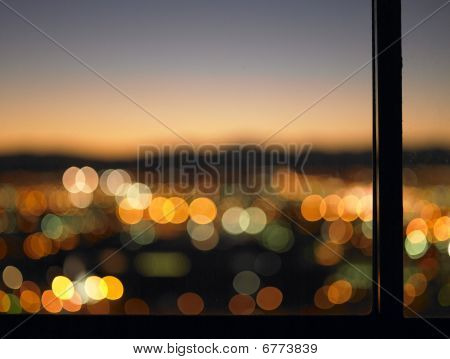 Blurred Lights Seen Through Window