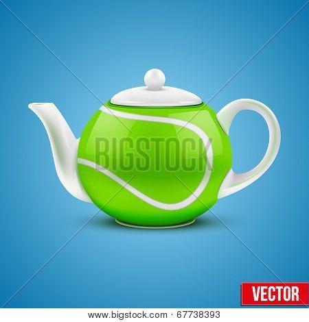 Ceramic Teapot In Tennis Ball Style. Vector Illustration.