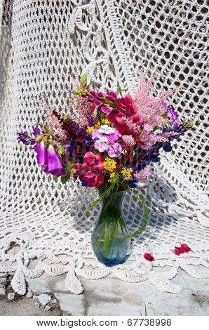 Still Life Bouquet With Pink And Blue Bright Flowers
