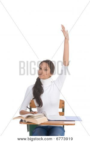 Ethnic Indian Schoolgirl Raised Hand In Class