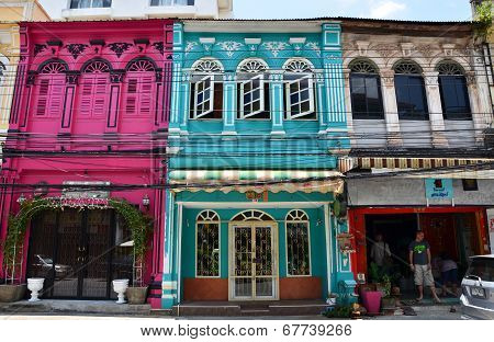 Phuket, Thailand - April 15, 2014 : Old Building Chino Portuguese Style In Phuket