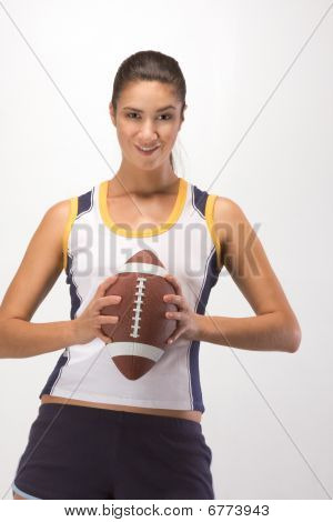 American Football Player Sporty Female With Ball