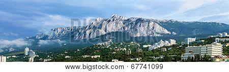 Panorama Of The Morning Mist Over A Large Yalta And Ai-petri Mountain. Crimea