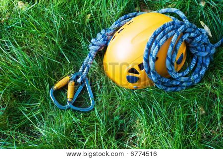 Carabiners, Helmet And Rope